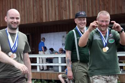 Det norske laget som tok gull i Nordic Cup og sølv i Scandinavian Cup. F.v. Ø. Flatnes, O. Deberitz og R. Stensrud.v